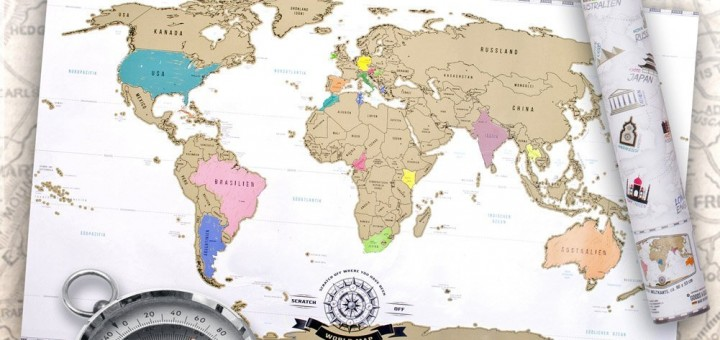 Landkarte Weltkarte zum rubbeln kratzen XXL
